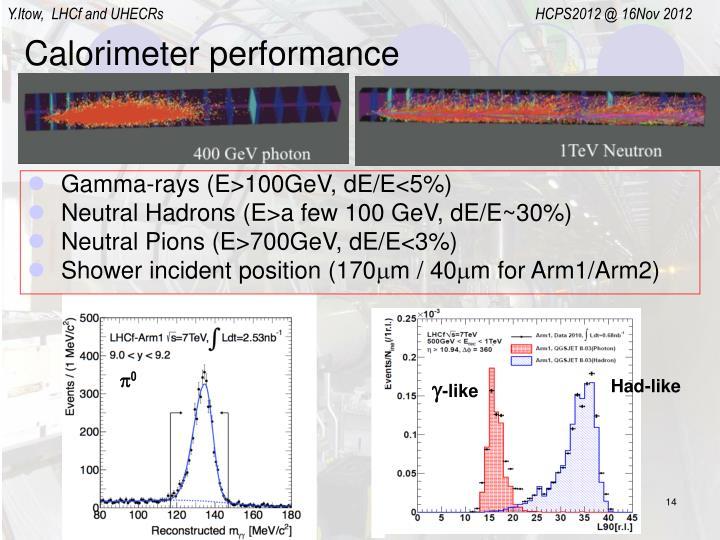 Calorimeter performance