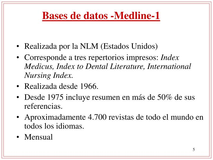 Bases de datos -Medline-1