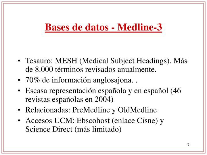 Bases de datos - Medline-3