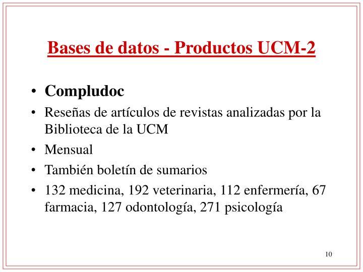 Bases de datos - Productos UCM-2