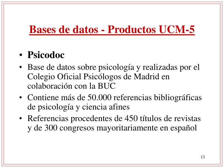 Bases de datos - Productos UCM-5