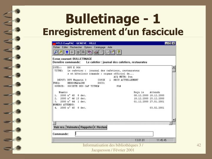 Bulletinage - 1
