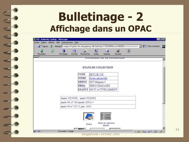 Bulletinage - 2