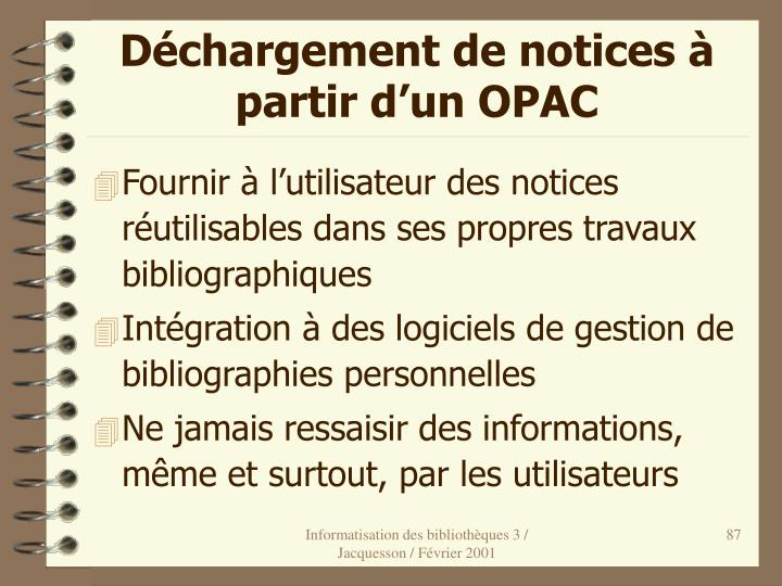Déchargement de notices à partir d'un OPAC