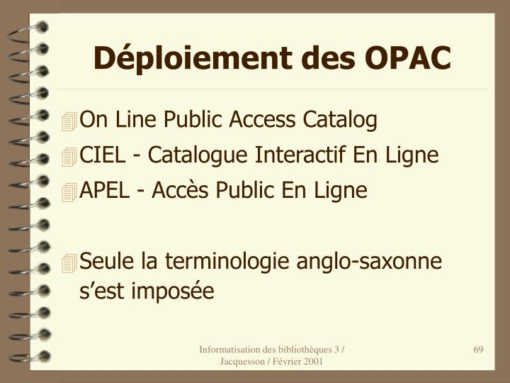 Déploiement des OPAC