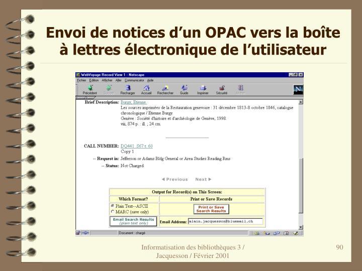 Envoi de notices d'un OPAC vers la boîte à lettres électronique de l'utilisateur