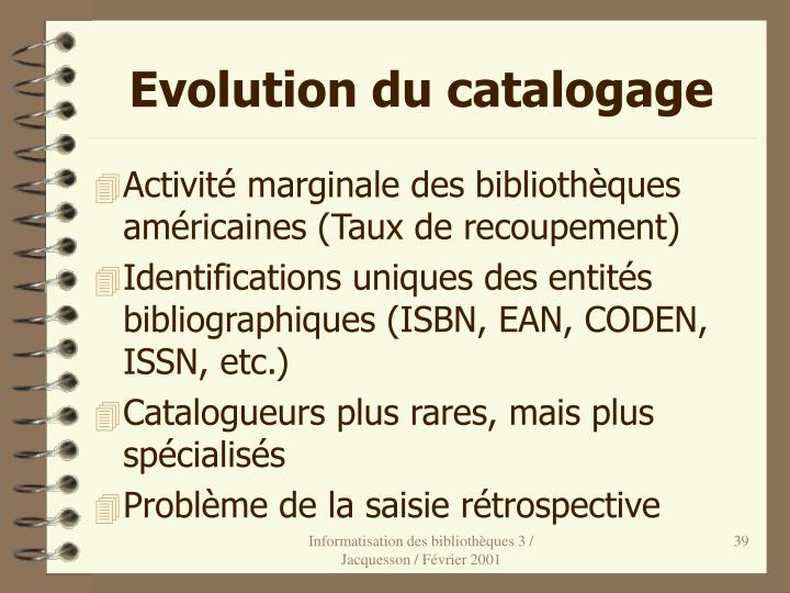 Evolution du catalogage