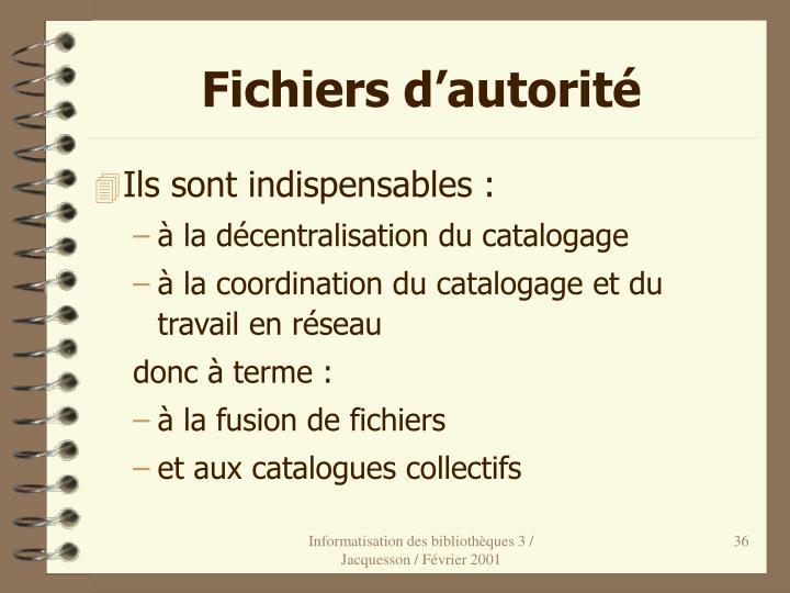 Fichiers d'autorité