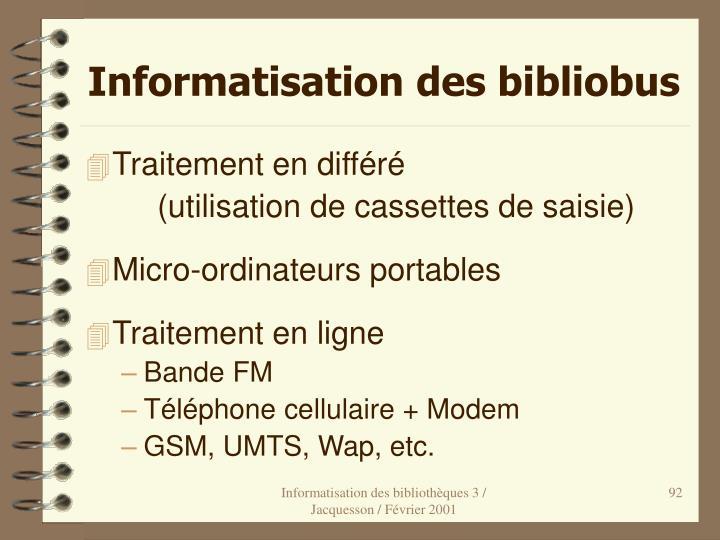Informatisation des bibliobus