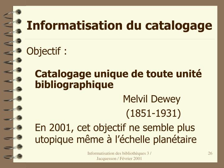 Informatisation du catalogage