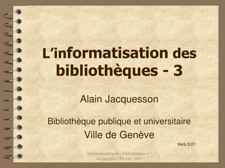 l in formatisation des biblioth ques 3