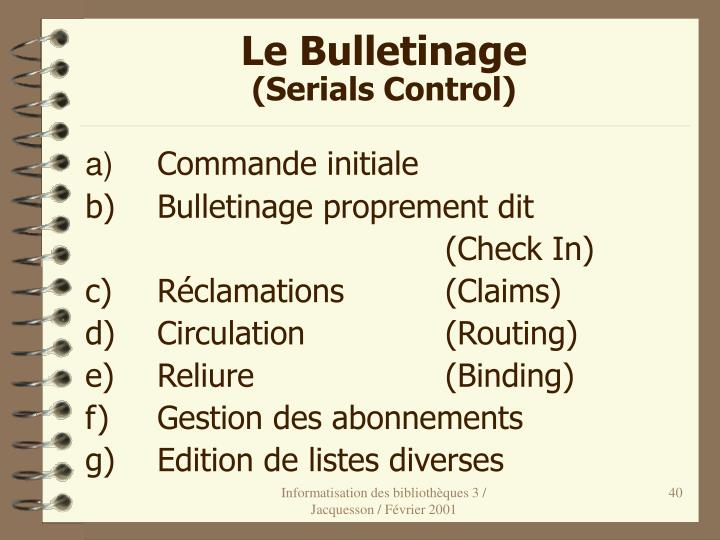 Le Bulletinage