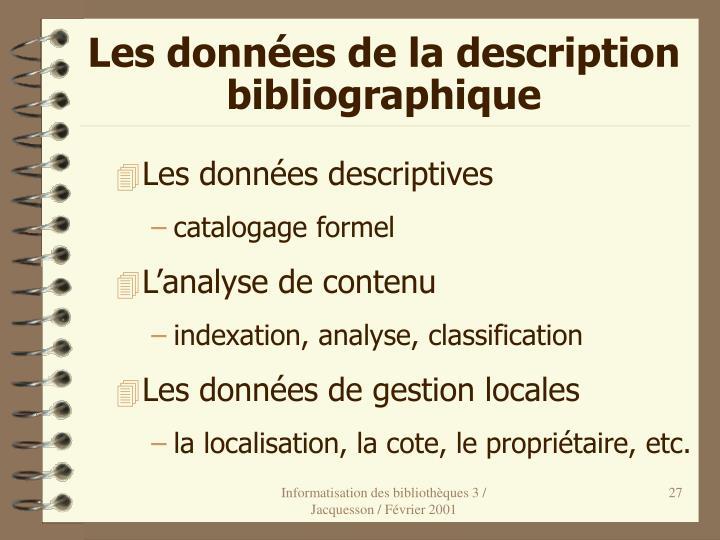 Les données de la description bibliographique