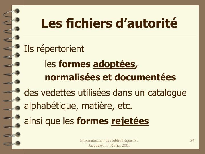 Les fichiers d'autorité