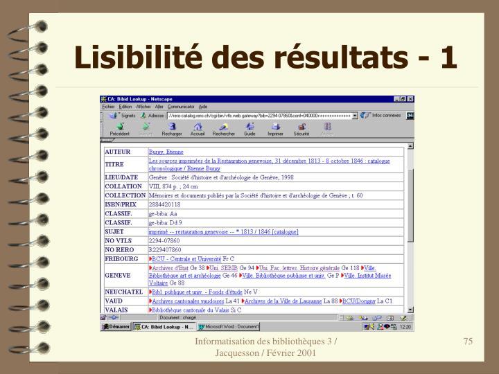 Lisibilité des résultats - 1