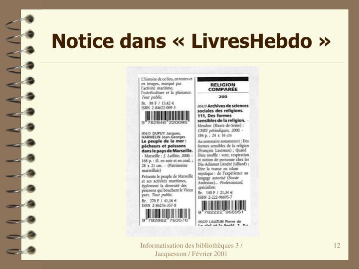 Notice dans «LivresHebdo»