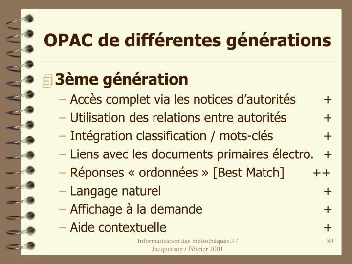 OPAC de différentes générations