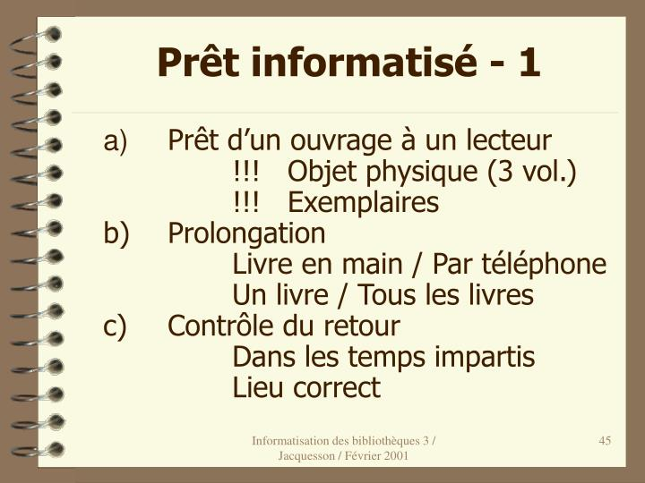 Prêt informatisé - 1