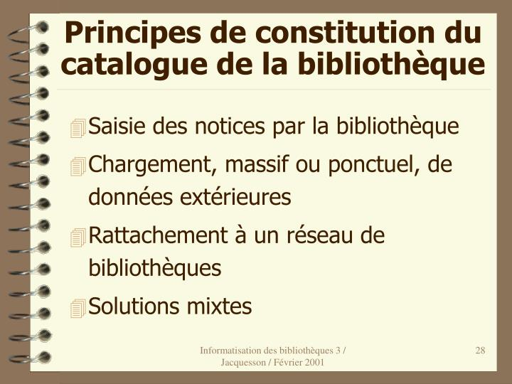 Principes de constitution du catalogue de la bibliothèque