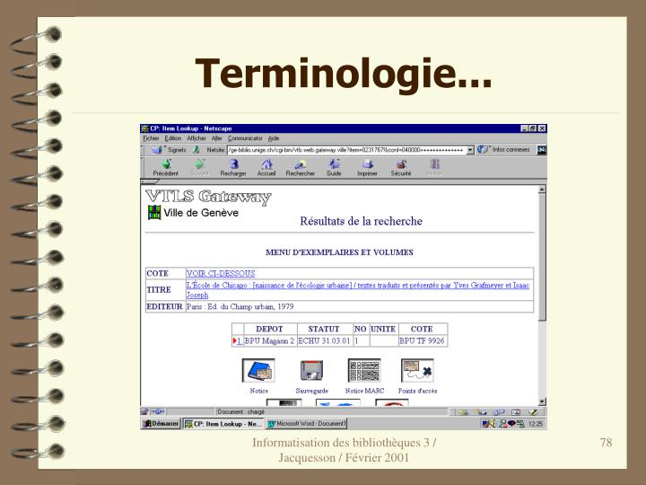 Terminologie...