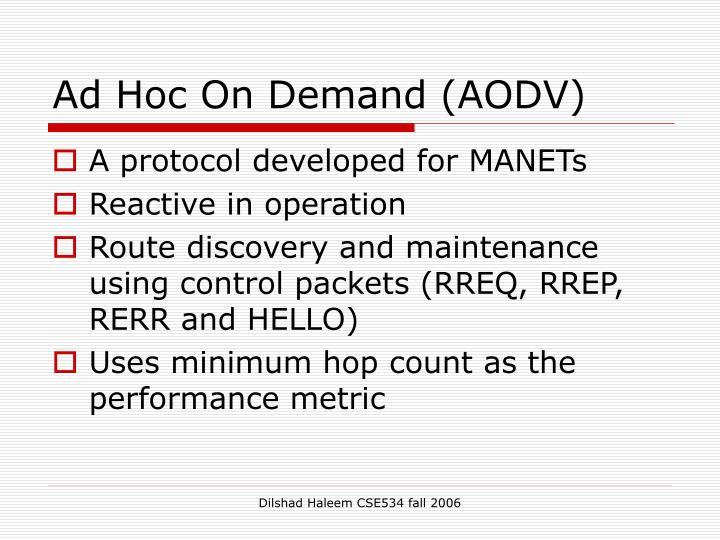 Ad Hoc On Demand (AODV)