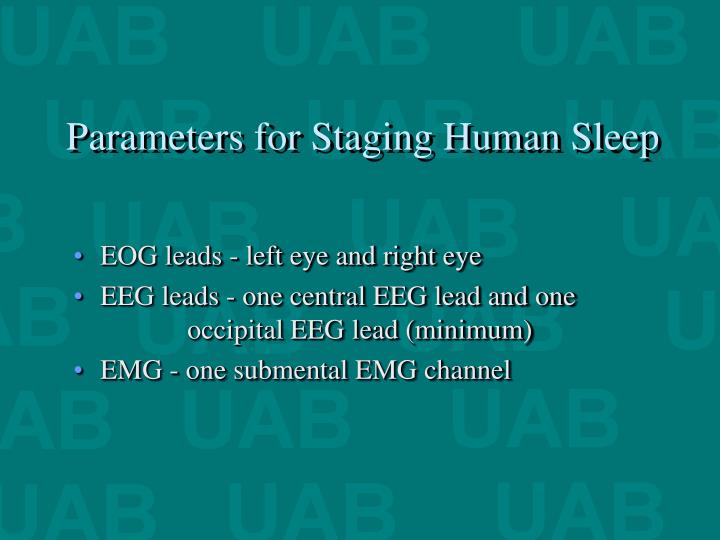 Parameters for staging human sleep