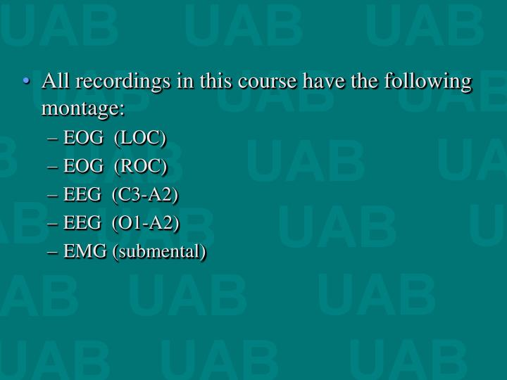 All recordings in this course have the following montage: