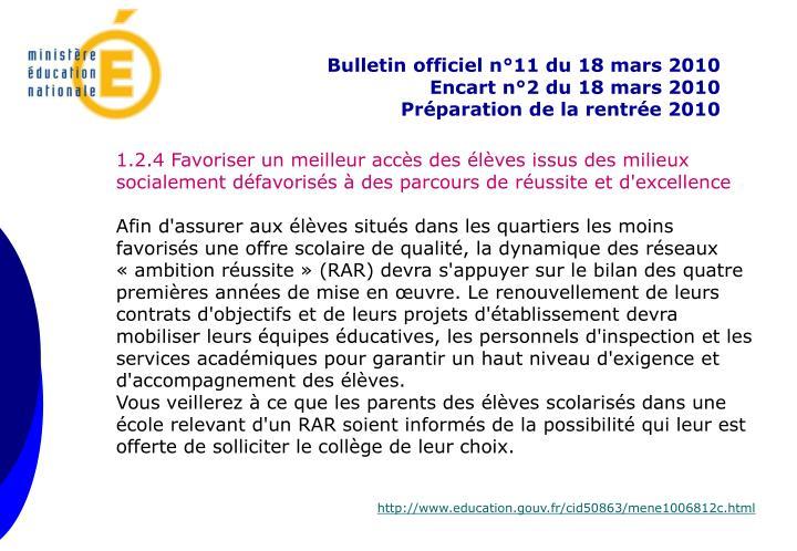 Bulletin officiel n°11 du 18 mars 2010