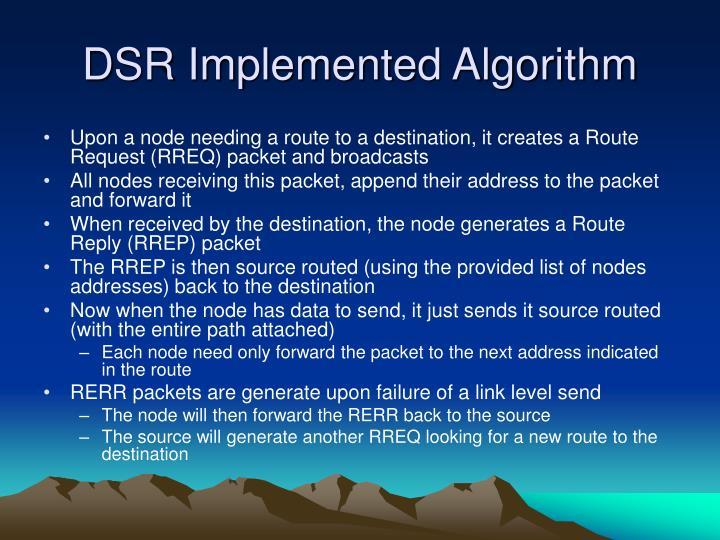 DSR Implemented Algorithm
