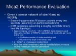 mica2 performance evaluation