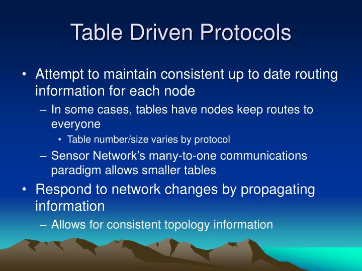 Table Driven Protocols