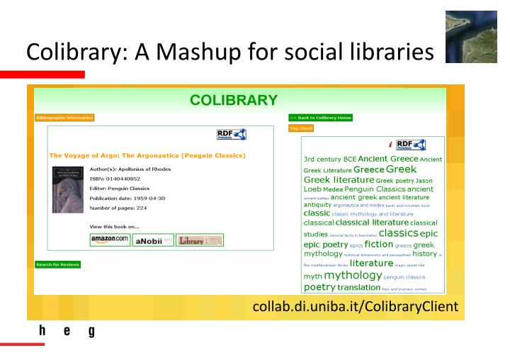 Colibrary: A Mashup for social libraries