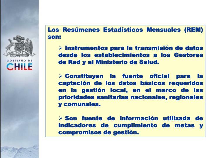 Los Resúmenes Estadísticos Mensuales (REM) son: