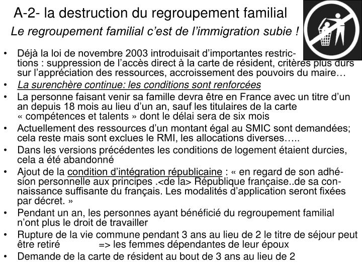 A-2- la destruction du regroupement familial