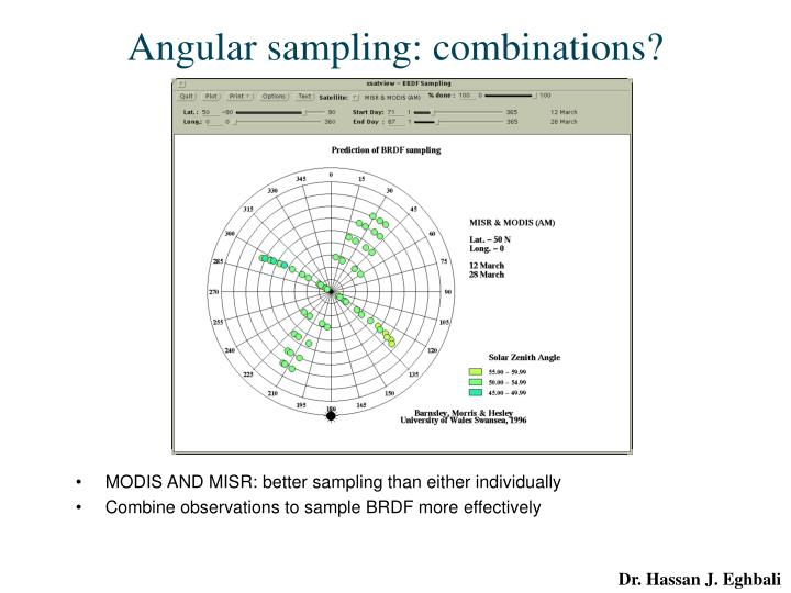 Angular sampling: combinations?