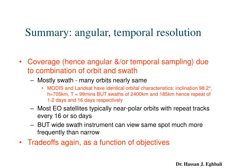 Summary: angular, temporal resolution