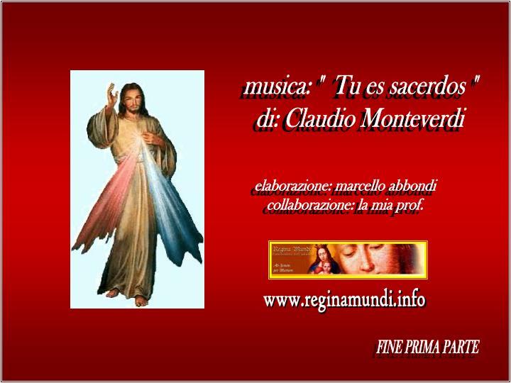 """musica: """"  Tu es sacerdos """""""