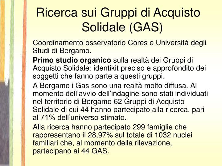 Ricerca sui Gruppi di Acquisto Solidale (GAS)