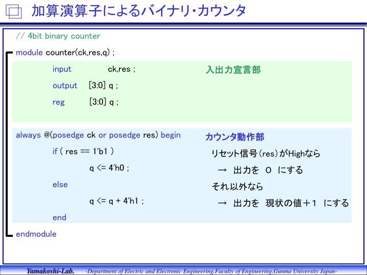 加算演算子によるバイナリ・カウンタ