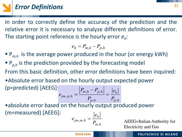 Error Definitions