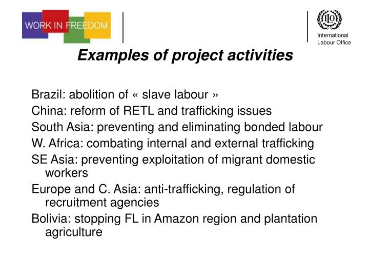 Examples of project activities