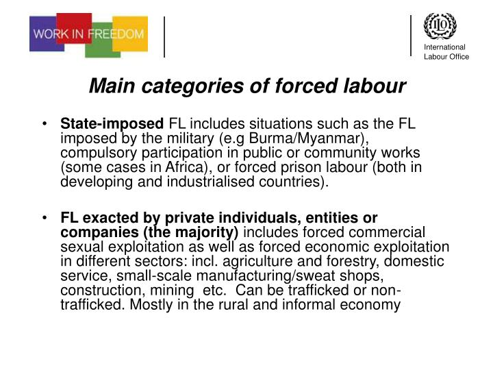 Main categories of forced labour