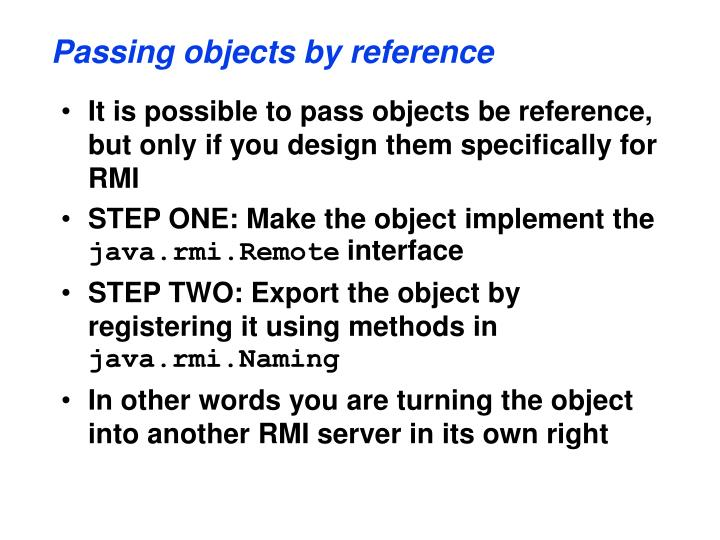 Passing objects by reference