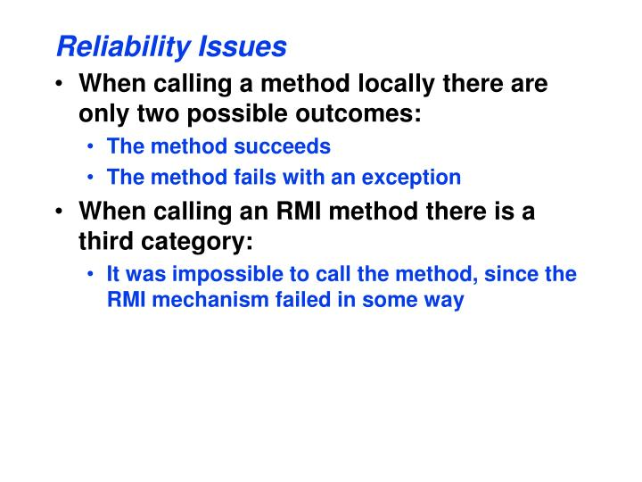 Reliability Issues
