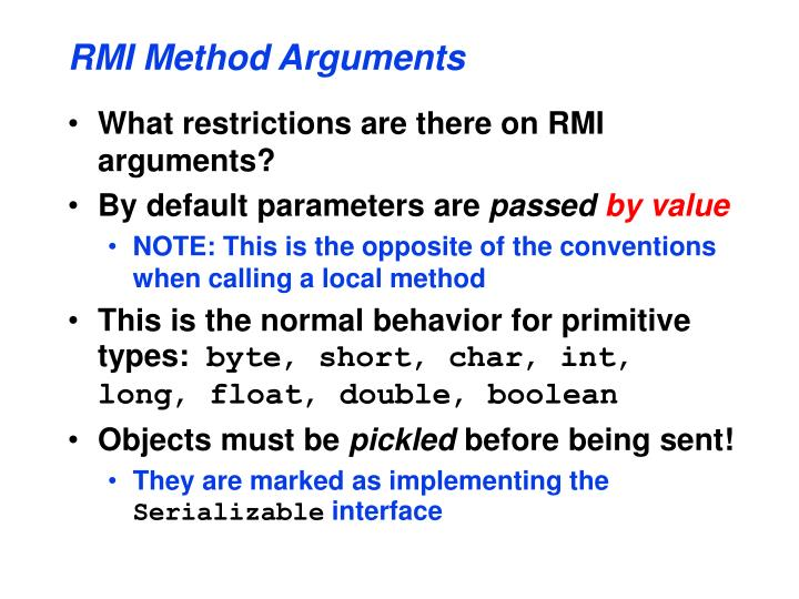 RMI Method Arguments