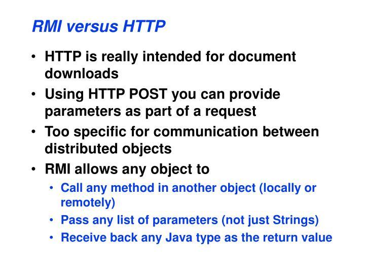 RMI versus HTTP