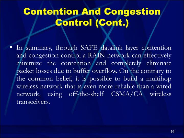 Contention And Congestion Control (Cont.)
