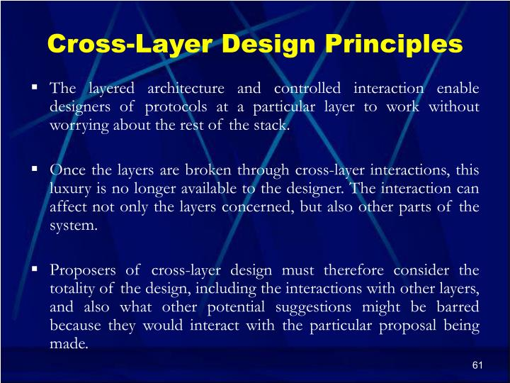 Cross-Layer Design Principles
