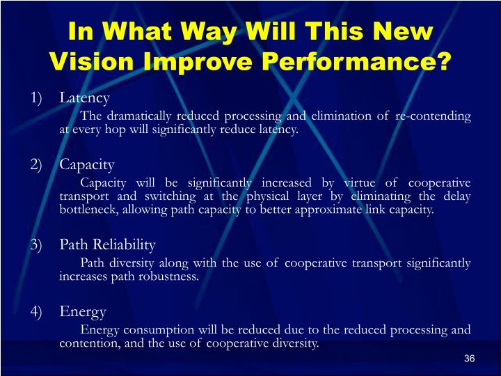In What Way Will This New Vision Improve Performance?