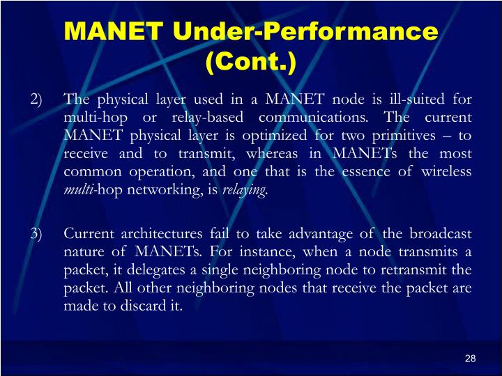 MANET Under-Performance (Cont.)